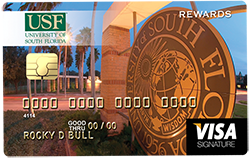 credit card with University of Southern Florida sign