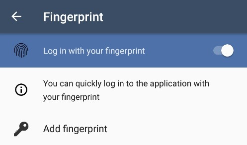 Android App - Biometric login