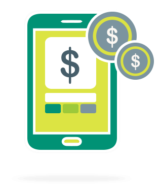 stylized mobile phone with dollar symbol